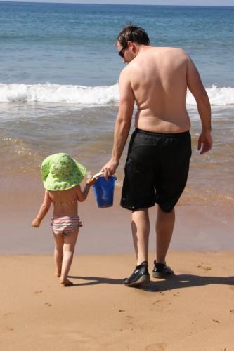 Calais and Daddy on the beach